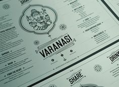 Mix of Indian deity and other Indian motif with classic/polished font and lines around text... Keeps it groovy but also polished.  [VARANASI INDIAN RESTAURANT IDENTITY]