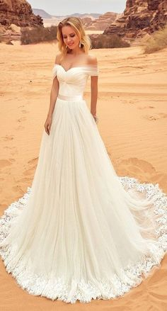 Simple Elegant Lace Tulle A-line Long Modest Off Shoulder Open Back Cheap Handmade Wedding Dresses,Wedding Dress,Wedding Gowns,Bridal Dresses,Bridal Gowns,Dresses For Wedding