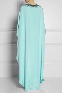 Sky-blue silk-cady Turquoise, white and silver bead and crystal embellishments, split sides Concealed hook-fastening keyhole at front 100% silk Dry clean