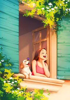 Cartoon Girl Images, Cute Cartoon Girl, Cartoon Art, Anime Girl Drawings, Anime Art Girl, Art Drawings, Digital Art Girl, Cute Cartoon Wallpapers, Summer Art