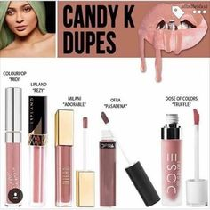 Here is an easy to read dupe cheat cheat if you want to save $ on Kylie Lip…