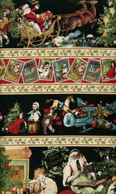 'Christmas Emporium' Repeating Stripes with Santas on Cotton Fabric By the Yard Amazon Art, Sewing Stores, Sewing Crafts, Cotton Fabric, Santa, Stripes, Christmas Patterns, Fabrics, Yard