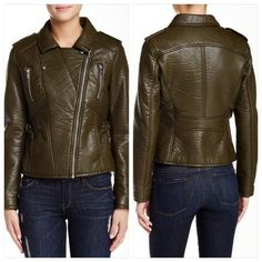 SALE Rachel Roy Faux Leather Moto Jacket brand new no tags Rachel by Rachel Roy Soft Faux Leather Moto Jacket.  In Loden (or olive green) this cropped fit jacket is perfect for a high-waist pencil skirt or slacks. Notched collar; Asymmetrical zipper closure at front with long sleeves; Slit pocket at hips and zipper pockets at chest with buckle detail at side waist.  Fully Lined and hits at high hip. RACHEL Rachel Roy Jackets & Coats
