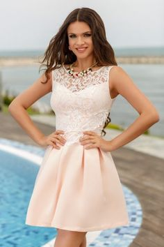 Rochie Baby Doll cu Broderie si Dantela Delicacy Rose