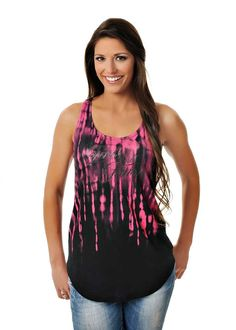 - Double Racer Twist Tank - Neon Pink/Black Ombre - GWG Script Logo Screen - Glitter Front and Back - 50% Poly - 50% Rayon - XS-3X 15SDBLRA-BLK