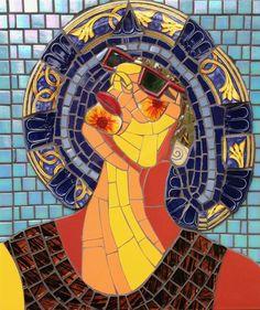 SUN SPLASHED (SELF PORTRAIT) - Gila Mosaics Create Image, Colored Glass, Spiderman, Sculptures, Sun, Ceramics, Portrait, Glass Ceramic, Instagram