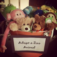 Adopt a zoo stuffed animal! Zoo theme birthday party