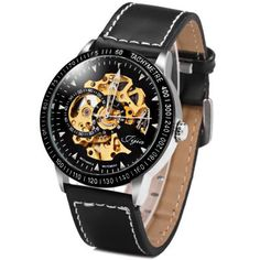 Leather Men's Watch Black Automatic Mechanical Round Dial