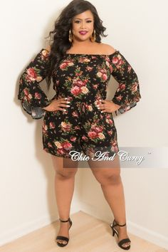 8a48af6dfd Final Sale Plus Size Off the Shoulder Bell Sleeve Romper in Black Floral  Print. Chic And Curvy