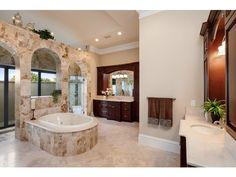 Traditional Bathroom - Arches, Dual Vanities, Soaking Tub, Walk in Shower, Quail West, Naples, Florida