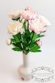 polymer clay flowers, deco clay,www.buketeria.ru,цветы из полимерной глины, интерьерные композиции, цветы из глины, пионы