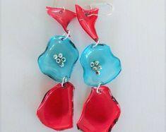 Earrings, plastic earrings , red and teal earrings ,earrings from plastic bottles, zero waste, reusable material
