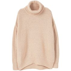 MANGO Oversize Sweater (290 RON) ❤ liked on Polyvore featuring tops, sweaters, shirts, roll neck sweater, oversized chunky cable knit sweater, rollneck sweaters, pink cable knit sweater and pink top