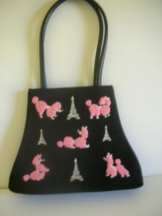 Vintage Look 50s Style Black Embroidered Chenille Poodle Purse Eiffel Towerparis | eBay