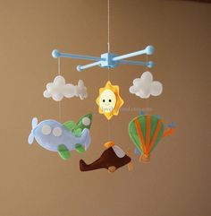 Baby Mobile Hot air balloon Crib Mobile Flying by lovelyfriend
