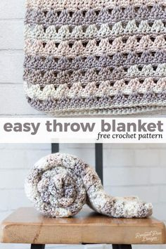 This easy crochet throw is the perfect throw to work up on a weekend crochet marathon. This design involves repeats along with some simple stitches to make for an easy quick and easy crochet throw! Check out this easy free crochet throw blanket pattern today!