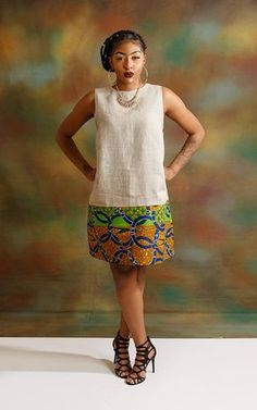 Latest Africa Fashion Tips knee length linen with ankara dress.I like the wide bottom band on this otherwise simple dress.Simple and nicCheck these out african fashion Latest African Fashion Dresses, African Print Dresses, African Print Fashion, African Dress, Africa Fashion, African Attire, African Wear, African Women, Simple Dresses