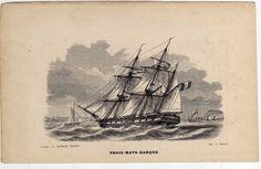 Gravure Ancienne Trois Mats Barque Voilier Bateau Marine | eBay