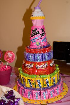 Candy Tower at a Sugar Rush Party #sugarrush #party