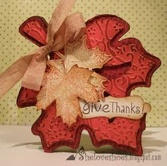 Fall leaf card - Love the color and texture! SOO Cute!