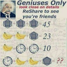 Geniuses Only Look Close on Details Reshare to See You're Friends GJonathan Chaim 23 10 😄😄 Brain Teasers Riddles, Brain Teasers With Answers, Riddles With Answers, Games For Fun, Math Games, Computer Basics, Math Challenge, Question Game, Charades