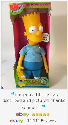 """Hey dude, he can talk!! 1990 Talking Bart Simpson 18"""" Pull String Plush Doll Figure NRFB 6 Phrases Works"""
