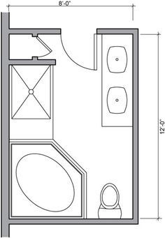8 x 12 foot master bathroom floor plans walk in shower - possible layout?