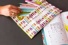 How to Make No-Sew Pencil Pouches for Back to School (or Work!) via Brit + Co. Pencil Bags, Pencil Pouch, Back To School, Arts And Crafts, Notebook, Pouches, Sewing, Paper, Diy