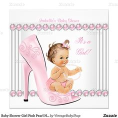 Baby Shower Girl Pink Pearl High Heel Shoes Invitation