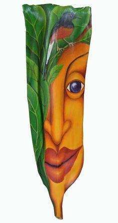 Song Bird original acrylic on palm frond by AnnaSkaradzinska, $650.00