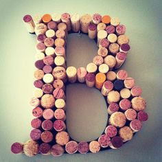 Wine Cork Letter Wreath for your Home or Wedding. $45.00, via Etsy.