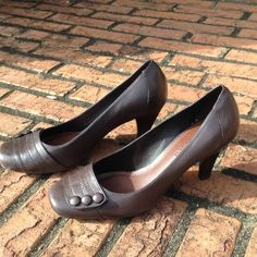 Brown Heels Nice chocolate brown heels with button details. Low (3-inch) heel makes them perfect for work. Very comfortable. Some scuff marks as shown in pics, but still in great condition. Also available in black, navy, and dark red. ❌NO TRADES❌ Gianni Bini Shoes Heels