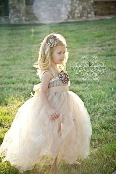 Champagne tulle flower girl