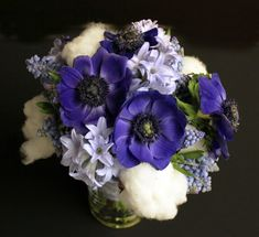 #Bridal #bouquet of blue anemones, hyacinth, muscari and raw cotton