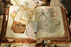 """Plenty of ressources to make your own grimoire, Necronomicon, Book of Spells. Take a look at the """"Aging Paper"""" section"""