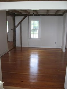 "8"" and 10"" select heartpine flooring in an 18th century restoration by Antique Floors."