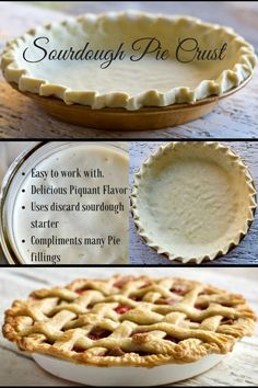 Pie Crust is easy to work with, uses up discard starter, Freezes well and makes a delicious pie!Sourdough Pie Crust is easy to work with, uses up discard starter, Freezes well and makes a delicious pie! Sourdough Pie Crust Recipe, Sourdough Starter Discard Recipe, Sourdough Recipes, Pie Crust Recipes, Pie Crusts, Best Pie Crust Recipe, Sourdough Cinnamon Rolls, Pie Dessert, Dessert Recipes