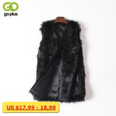 GOPLUS Women Brown Plus Size Faux Fur Vest Slim Long Faux fur Coat Women XXL Gilet Fourrure Rabbit Fur Femme Vest Long Coat