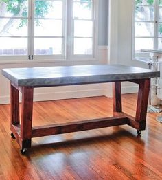 Westerly Wood & Concrete Table | This industrial style Westerly table features a sleek and smoo... | Kitchen & Dining Room Tables