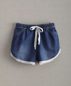 girls lace chambray shorts