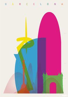 Shapes of Cities: Yoni Alter Barcelona: Magic Fountain of Montjuïc, W Barcelona… Illustration Inspiration, City Illustration, City Art, Barcelona Hotel, Barcelona Spain, Poster Minimalista, Magic Fountain, Illustrator, Graphic Art