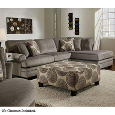 Smoke Gray Padded Microfiber Sectional | Furniture and Mattress Outlet