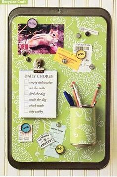 Multiple DIY Message Board Ideas, in addition to this Cookie Sheet/Magnetic Message Center with attached can to house pens & pencils. *(Another plus, you can purchase Cimple brand inexpensive drawer dividers to help with organization)! :)