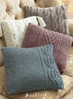 Pillow Cases in Hayfield Bonus Aran Tweed with Wool - Discover more Patter. Pillow Cases in Hayfield Bonus Aran Tweed with Wool - Discover more Patterns by Hayfield at LoveKnitting. The worl. Knitted Cushion Covers, Knitted Cushions, Knitted Blankets, Knitted Cushion Pattern, Knitting Supplies, Knitting Projects, Knit Pillow, Sweater Pillow, Christmas Knitting