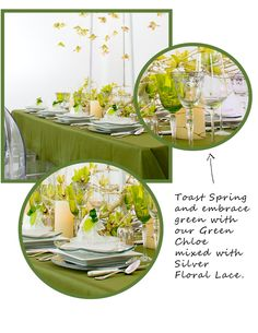 Toast to Spring with Green Chloe Goblet and Silver Lace Glassware