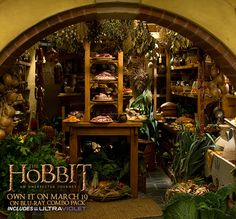 It may look extravagant, but Bilbo's pantry is standard for a Hobbit. (I want this pantry, food and all! I could easily live in a hobbit hole, my husband wouldn't fair well being a tall man! Hobbit Bilbo, The Hobbit, Bilbo Baggins, Future House, My House, Root Cellar, Into The West, Tolkien, Larder