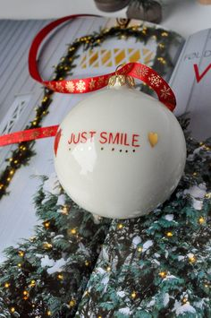 JUST SMILE Modern Christmas Ornament with golden details   Etsy
