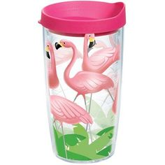Tervis Tumbler Sun and Surf Lawn Flamingos 16 Oz. Tumbler with Lid