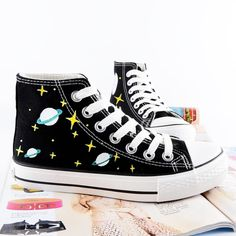 Harajuku graffiti hand-painted galaxy canvas flat shoes SE7236