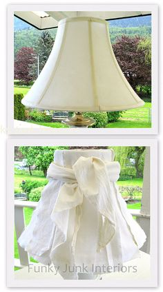 DIY a fun shabby chic-to-the-hilt... no-sew... no-glue lampshade. You could make it from flour sack drying towels. Too cute.